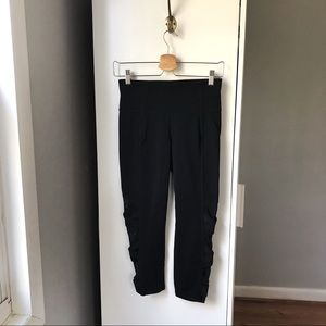 Athleta black long legging with faux lace up sides